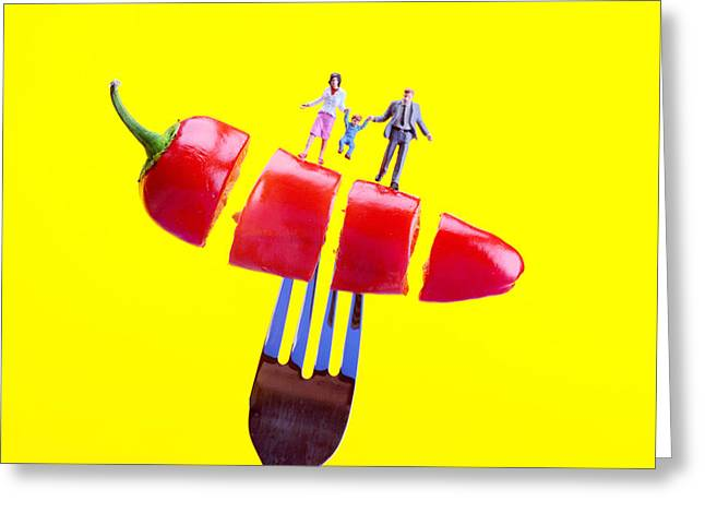 Family On The Floating Red Pepper Miniature Art Greeting Card by Paul Ge