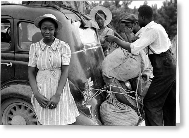 African American History Greeting Cards - Family on the Road 1940 Greeting Card by Mountain Dreams