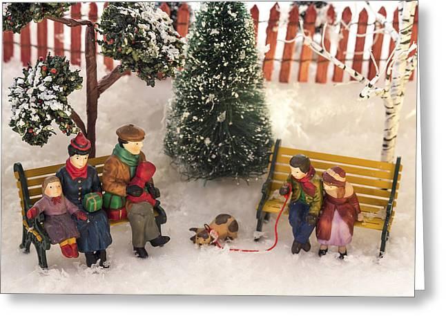 Christmas Village Greeting Cards - Family Outing Greeting Card by Caitlyn  Grasso