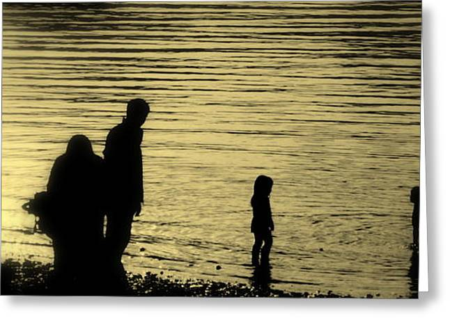 Wainwright Greeting Cards - Family paddle Greeting Card by Linsey Williams