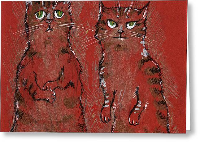 Cat Drawings Greeting Cards - Family portrait Greeting Card by Angel  Tarantella
