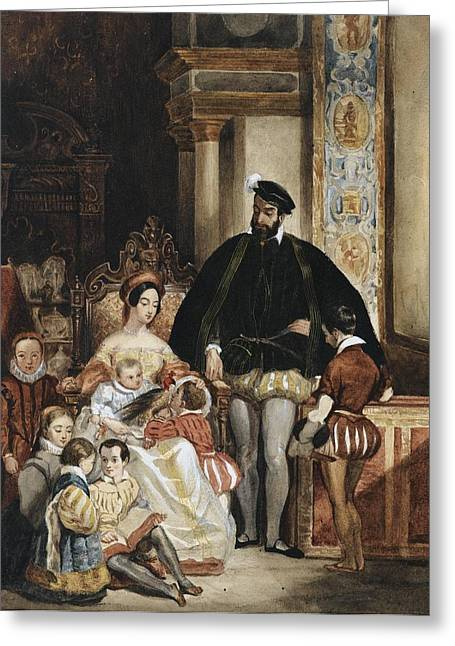 Entourage Greeting Cards - Family Portrait In Renaissance Inside Greeting Card by ENTOURAGE ACHILLES Deveria