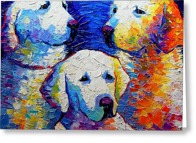 Dog Abstract Greeting Cards - Family Portrait Greeting Card by Mona Edulesco
