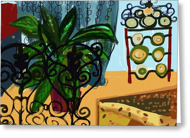 Interior Still Life Digital Greeting Cards - Family Room with fireplace screen Greeting Card by Olga Sheyn