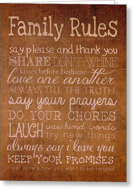 Family Love Greeting Cards - Family Rules Words of Wisdom on Worn Distressed Canvas Greeting Card by Design Turnpike