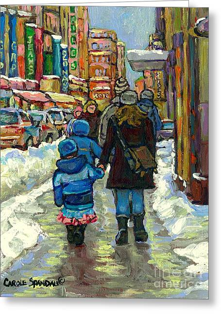 Ste Catherine Greeting Cards - Family Stroll Beautiful Winter Day Downtown Canadian Snowscene Paintings Best Montreal Art For Sale Greeting Card by Carole Spandau