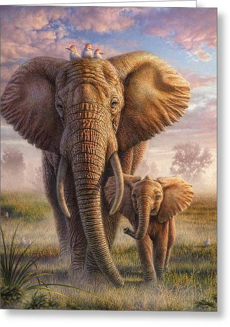 African Elephants Greeting Cards - Family Stroll Greeting Card by Phil Jaeger