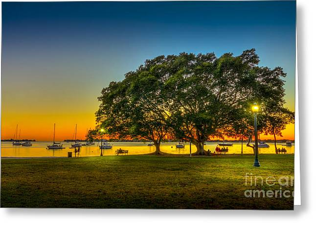 Park Benches Photographs Greeting Cards - Family Sunset Greeting Card by Marvin Spates