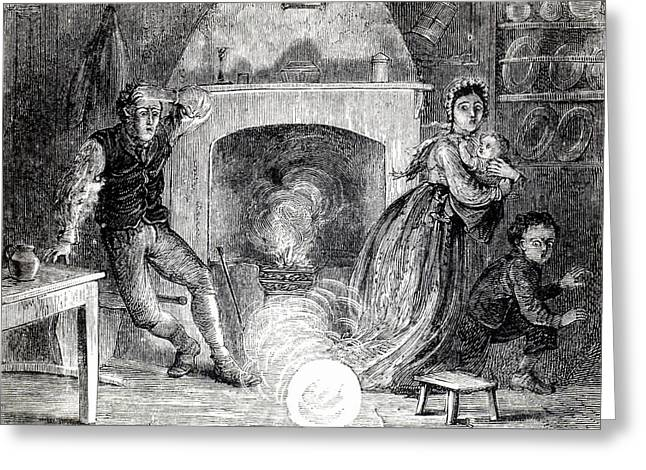 Family Terrified By Fireball Or Meteorite Greeting Card by Universal History Archive/uig