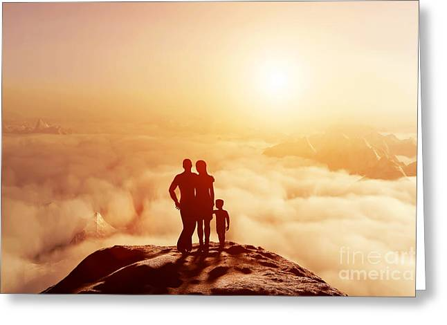 New Concepts Greeting Cards - Family together on mountain looking on sunset Greeting Card by Michal Bednarek
