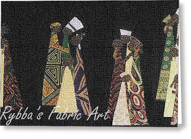 African-american Tapestries - Textiles Greeting Cards - Family Traditions Greeting Card by Ruth Yvonne Ash