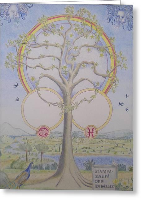 Family Tree Greeting Cards - Family tree chart Zodiac Greeting Card by Alix Mordant