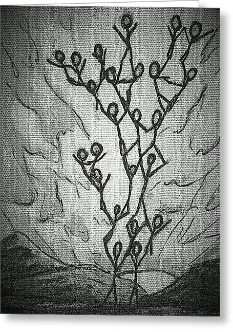 Creative People Mixed Media Greeting Cards - Family Tree Greeting Card by Pamela Blayney