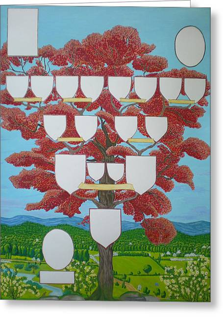 Genealogy Paintings Greeting Cards - Family tree Ruby-red Greeting Card by Alix Mordant