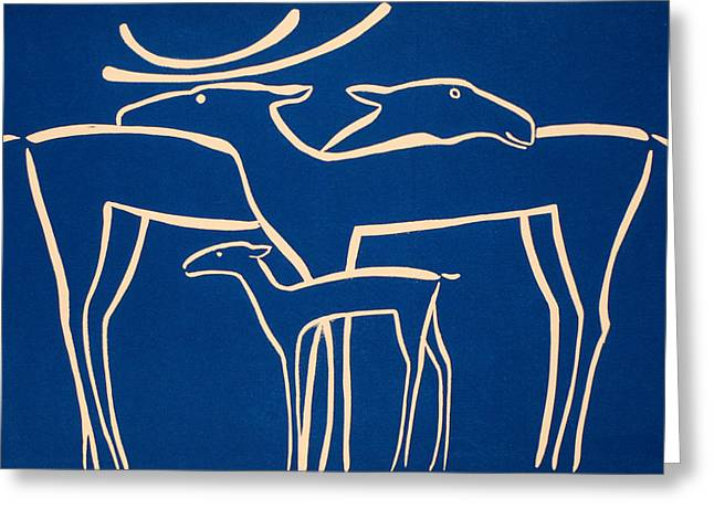 Linocut Reliefs Greeting Cards - Family Greeting Card by Vadim Vaskovsky