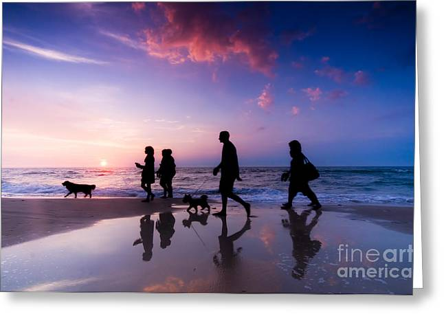 Dog Play Sea Greeting Cards - Family walk Greeting Card by Michal Bednarek