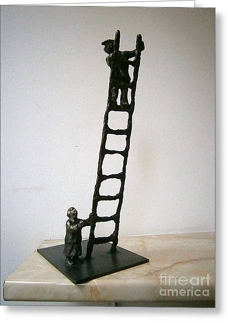 Realistic Sculptures Greeting Cards - Family with ladder Greeting Card by Nikola Litchkov