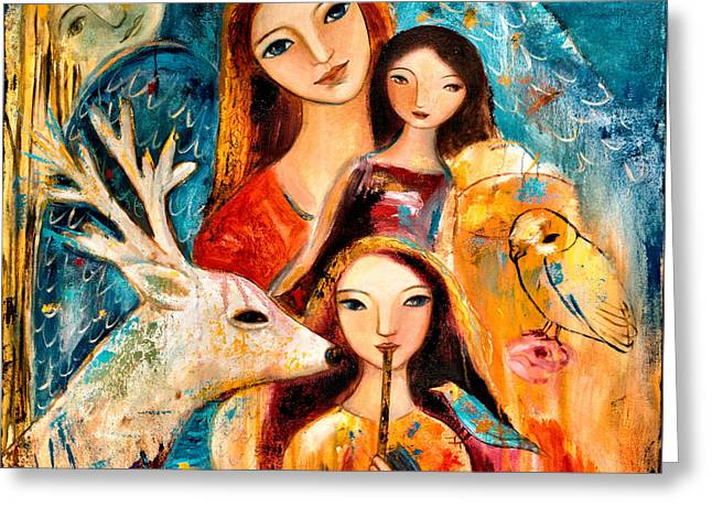 Mother And Young Greeting Cards - Family with Reindeer Greeting Card by Shijun Munns