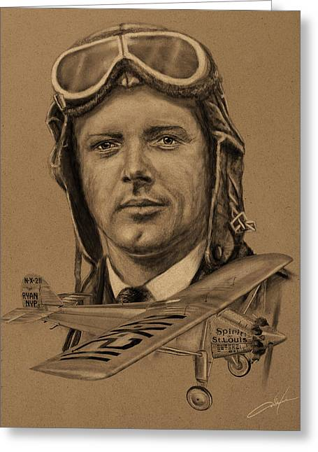 Duo Tone Digital Art Greeting Cards - Famous Aviators Charles Lindbergh Greeting Card by Dale Jackson