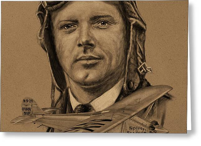 Famous Aviators Charles Lindbergh Greeting Card by Dale Jackson