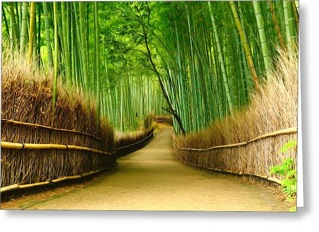 Bamboo Fence Greeting Cards - Famous bamboo grove at Arashiyama Greeting Card by Lanjee Chee