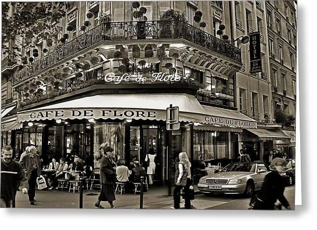 Famous Cafe de Flore - Paris Greeting Card by Carlos Alkmin