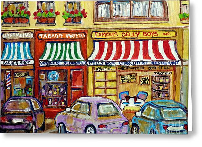 Famous Delly Boys Deli Montreal Stores Paintings Carole Spandau Greeting Card by Carole Spandau