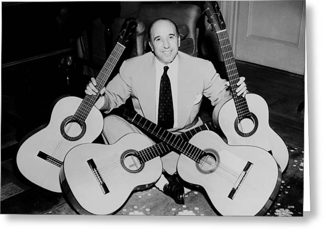 1950s Music Photographs Greeting Cards - Famous Guitarist Carlos Montoya 1953 Greeting Card by Mountain Dreams