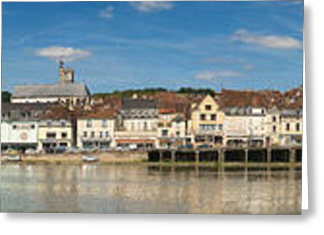 Burgundy Greeting Cards - Famous Hotel-restaurant In A Town Greeting Card by Panoramic Images