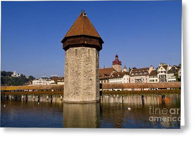 Luzern Greeting Cards - Famous Kapelbrucke Bridge, Chapel Greeting Card by Bill Bachmann