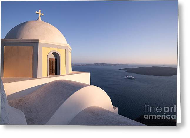 Cupola Greeting Cards - Famous orthodox church in Santorini Greece at sunset Greeting Card by Matteo Colombo
