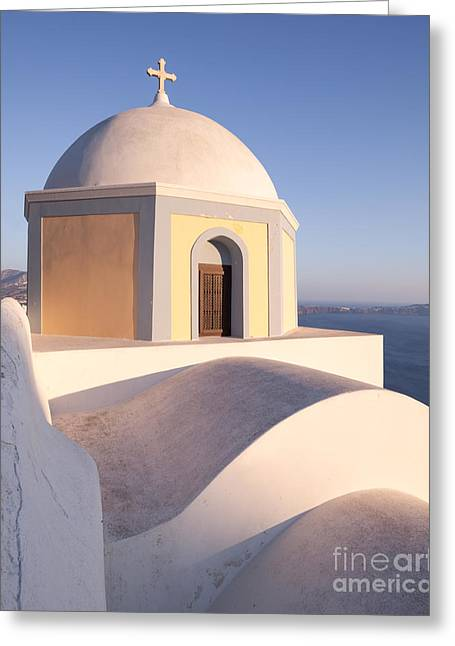 Greek Icon Greeting Cards - Famous orthodox church in Santorini Greece Greeting Card by Matteo Colombo