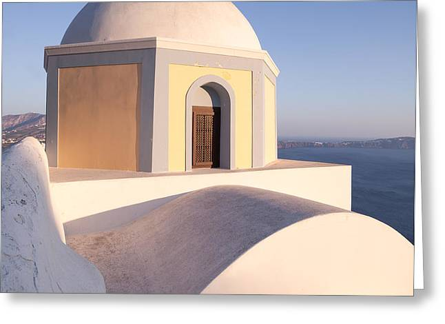 Famous orthodox church in Santorini Greece Greeting Card by Matteo Colombo