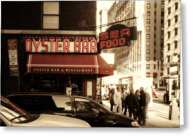 Famous Oyster Bar Greeting Card by Jon Woodhams