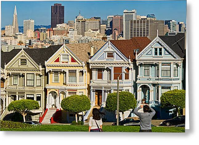 Painted Lady Greeting Cards - Famous Row Of Victorian Houses Called Greeting Card by Panoramic Images