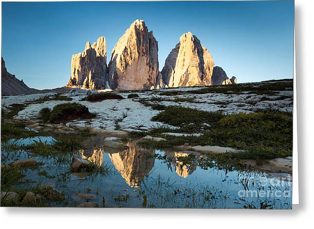 Colombos Greeting Cards - Famous three peaks at sunrise Dolomites Italy Greeting Card by Matteo Colombo