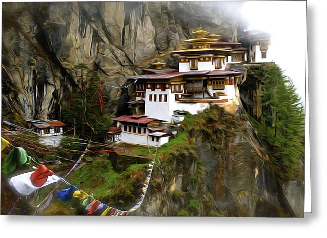 Tibetan Buddhism Greeting Cards - Famous tigers nest monastery of Bhutan 2 Greeting Card by Lanjee Chee