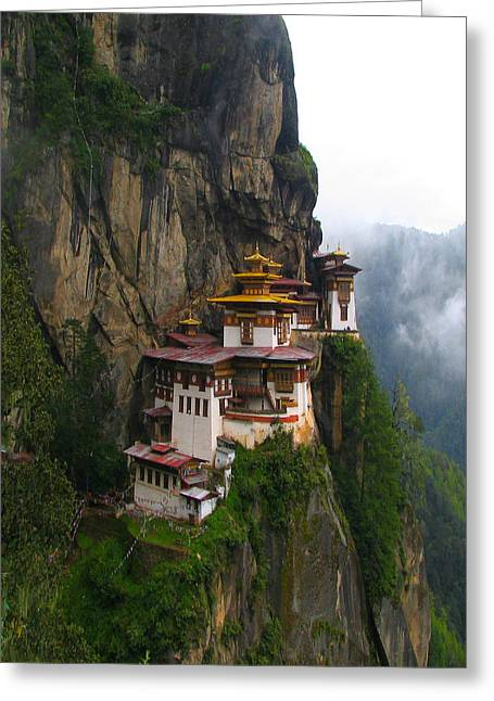 Tibetan Buddhism Greeting Cards - Famous tigers nest monastery of Bhutan Greeting Card by Lanjee Chee