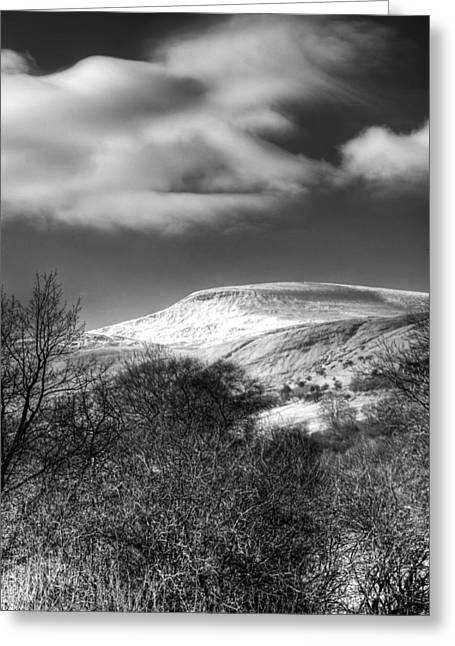 Waterscapes Of Wales Greeting Cards - Fan Fawr Brecon Beacons 1 Mono Greeting Card by Steve Purnell