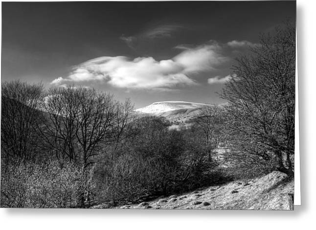 Waterscapes Of Wales Greeting Cards - Fan Fawr Brecon Beacons 2 Mono Greeting Card by Steve Purnell