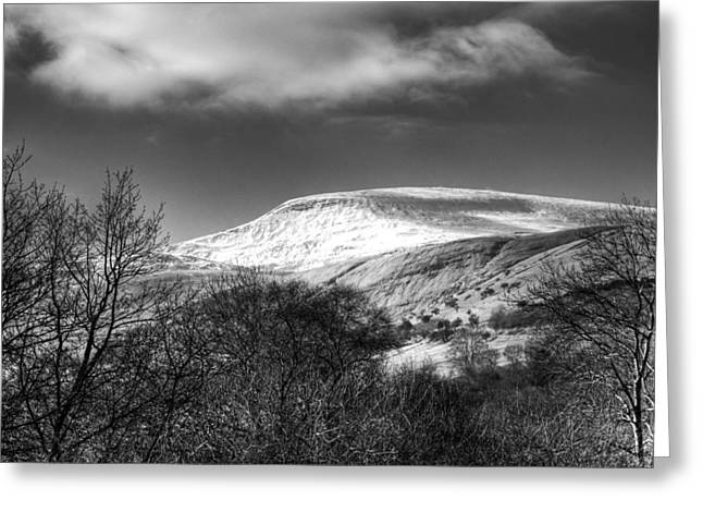 Waterscapes Of Wales Greeting Cards - Fan Fawr Brecon Beacons 3 Mono Greeting Card by Steve Purnell