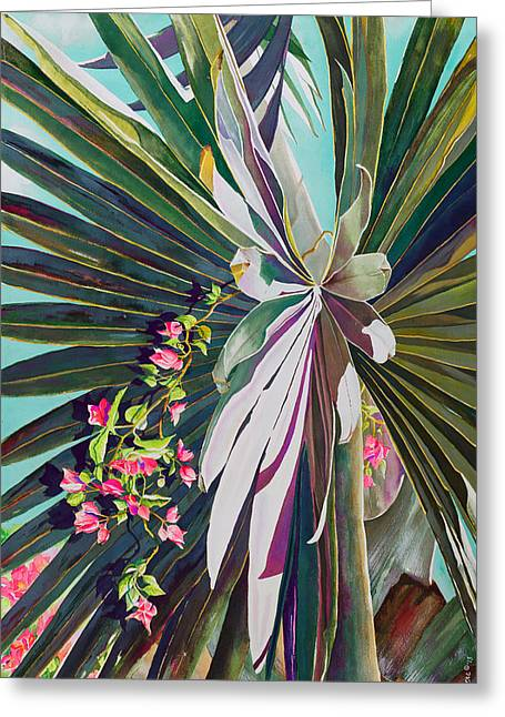 Pink Flower Branch Greeting Cards - Fan Palm and Bougainvillea Greeting Card by Janis Grau