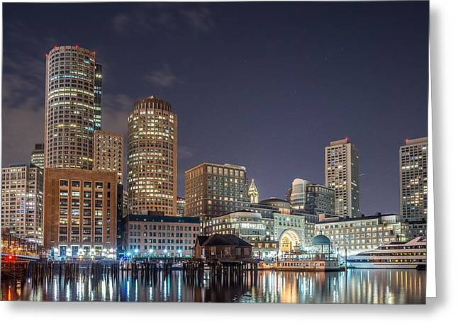 Tea Party Greeting Cards - Fan Pier Boston MA on a hot July night Greeting Card by Bryan Xavier