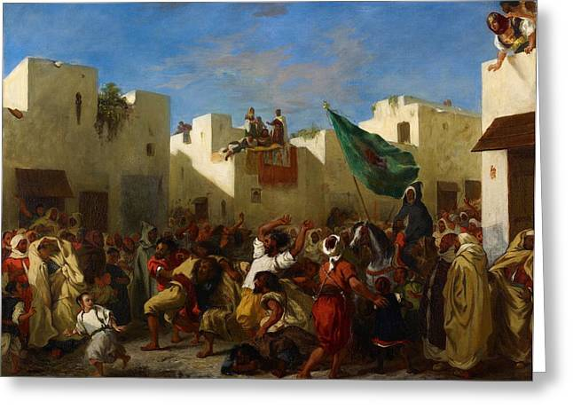 Fanatic Paintings Greeting Cards - Fanatics of Tangier Greeting Card by Eugene Delacroix