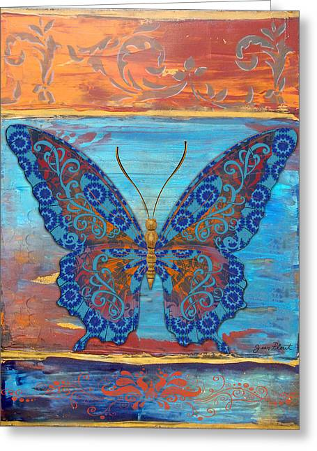 Abstract Digital Paintings Greeting Cards - Fanciful Blue Butterfly Greeting Card by Jean PLout