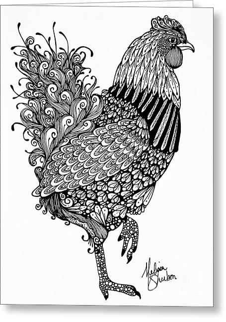 Barn Yard Drawings Greeting Cards - Fanciful Chicken Greeting Card by Melissa Sherbon