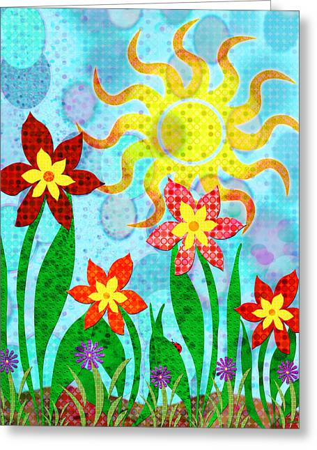 Fanciful Flowers Greeting Card by Shawna Rowe
