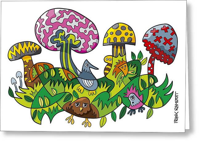Fanciful Mushroom Nature Doodle Greeting Card by Frank Ramspott