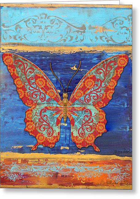 Abstract Digital Paintings Greeting Cards - Fanciful Orange Butterfly Greeting Card by Jean PLout