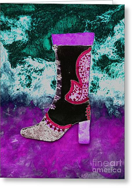 Fancy Boots Greeting Cards - Fancy Black Boot Greeting Card by Faith Riverstone Designs